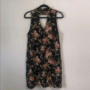 Black Floral Keyhole V-Neck Dress Sz M